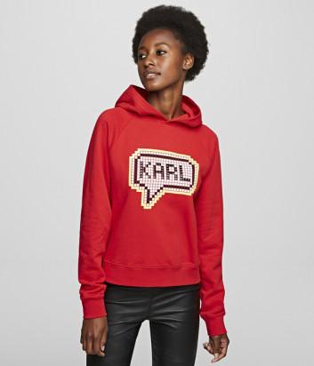 Красная толстовка KARL LAGERFELD 201W1822 с пиксельным принтом