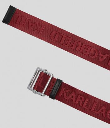 Текстильный ремень KARL LAGERFELD 201W3196 с логотипом красный