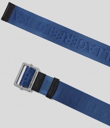 Текстильный ремень KARL LAGERFELD 201W3196 с логотипом синий