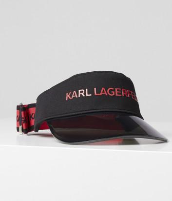 Козырёк KARL LAGERFELD 201W3412 с логотипом черно-красный