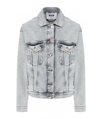Голубая джинсовая куртка MSGM 2841MDH48L с логотипом на спине