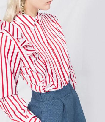 Белая рубашка MSGM 2841MDE10X в красную полоску