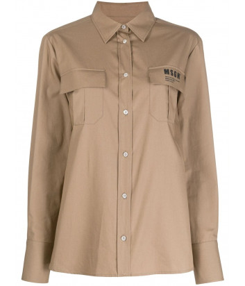 Кофейная рубашка MSGM 2841MDE30X с карманами и логотипом
