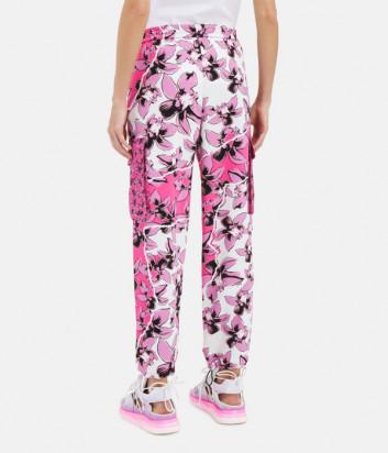 Брюки ICEBERG B1515277 с розовым цветочным принтом и накладными карманами