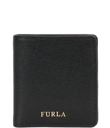 Кошелек на кнопке Furla Babylon 870999 в сафьяновой коже черный