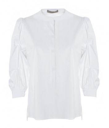 Блуза из хлопка D.EXTERIOR 50584 с рукавами фонариками белая