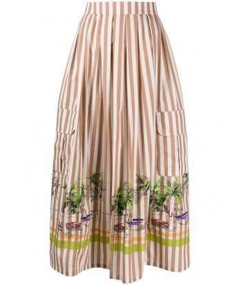 Расклешенная юбка ERIKA CAVALLINI P0SV05 в полоску с принтом