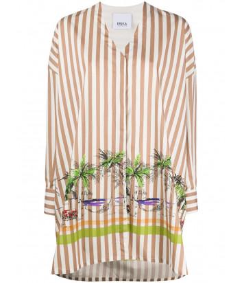 Рубашка оверсайз ERIKA CAVALLINI P0SV01 в полоску с принтом