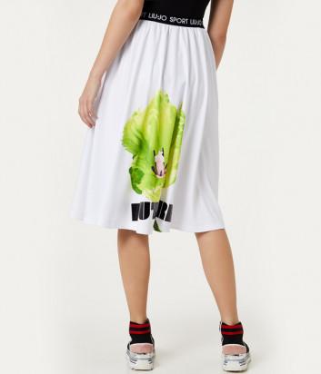 Белая юбка LIU JO TA0191 с ярким цветочным принтом
