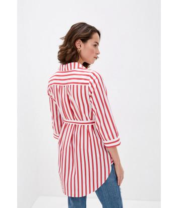 Рубашка-туника LIU JO VA0059T5899 белая в красную полоску