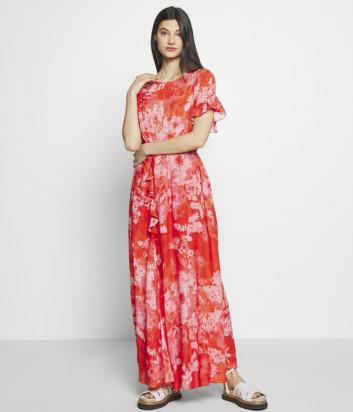 Длинное платье PINKO 1B14JO красное с цветочным принтом