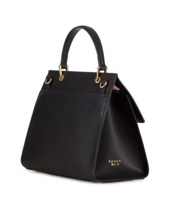 Кожаная сумка TOSCA BLU Blue Sky TS2018B81 черная с принтом