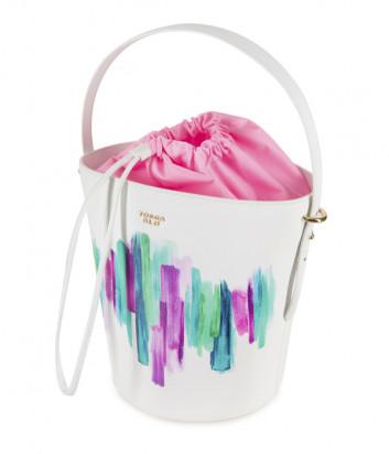 Кожаная сумка-ведро TOSCA BLU Blue Sky TS2018B83 белая с принтом