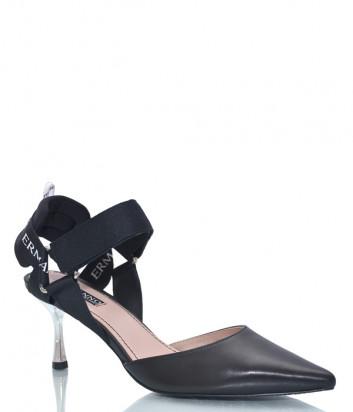 Кожаные туфли ERMANNO SCERVINO SS2003E044 с открытой пяткой черные