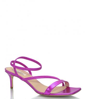 Кожаные босоножки NINALILOU 301086 с квадратным носком цвета фуксии