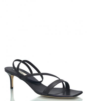 Кожаные босоножки NINALILOU 301086 с квадратным носком черные