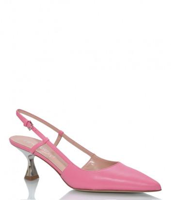 Кожаные босоножки NINALILOU 301260 на фигурном каблуке розовые