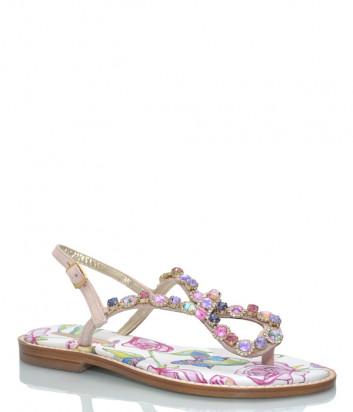 Кожаные сандалии PAOLA FIORENZA FB 741 розовые с кристаллами
