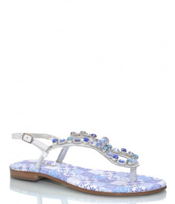 Кожаные сандалии PAOLA FIORENZA FB 741 голубые с кристаллами