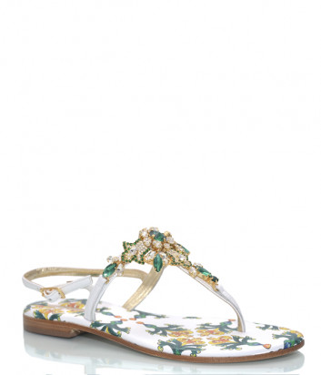 Кожаные сандалии PAOLA FIORENZA 2020-12 желто-зеленые с кристаллами