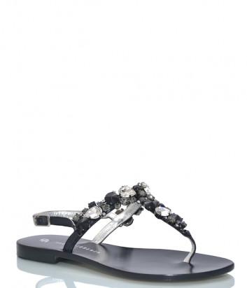 Кожаные сандалии PAOLA FIORENZA HW 12 черные с кристаллами