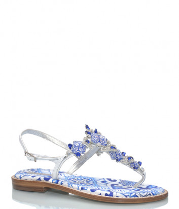 Кожаные сандалии PAOLA FIORENZA FB 774 бело-голубые с кристаллами