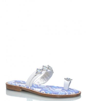 Кожаные шлепанцы PAOLA FIORENZA FB 751 бело-голубые с кристаллами