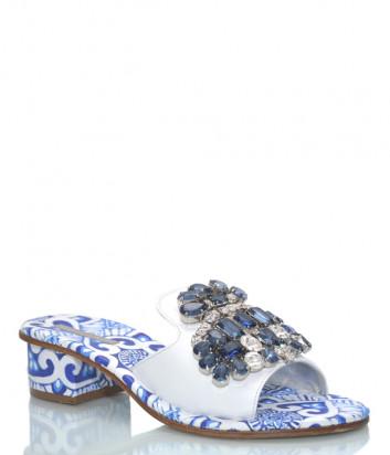 Кожаные мюли PAOLA FIORENZA ST 37-19 бело-голубые с кристаллами