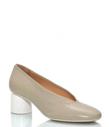 Кожаные туфли HALMANERA Anya 01 на круглом каблуке бежевые