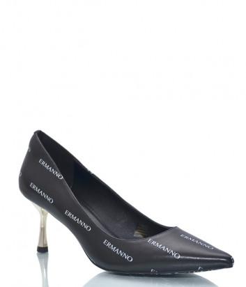 Кожаные туфли ERMANNO SCERVINO 2003E047 черные с принтом