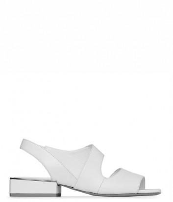 Кожаные босоножки VIC MATIE на квадратном каблуке белые