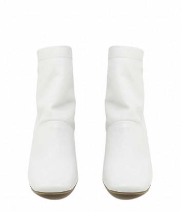 Кожаные ботильоны VIC MATIE Tronc Betty с квадратным носком белые