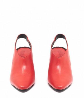 Кожаные туфли VIC MATIE с острым носком и открытой пяткой коралловые
