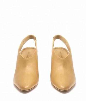 Кожаные туфли VIC MATIE с острым носком и открытой пяткой бежевые