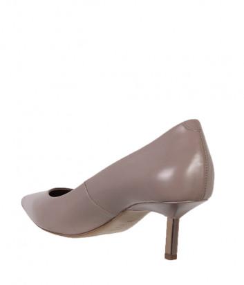 Кожаные туфли VIC MATIE на маленьком металлическом каблуке кофейные