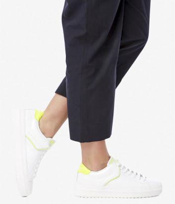 Белые кожаные кеды VOILE BLANCHE Demi с желтыми вставками
