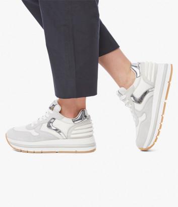 Кроссовки VOILE BLANCHE Maran белые с серебристыми вставками