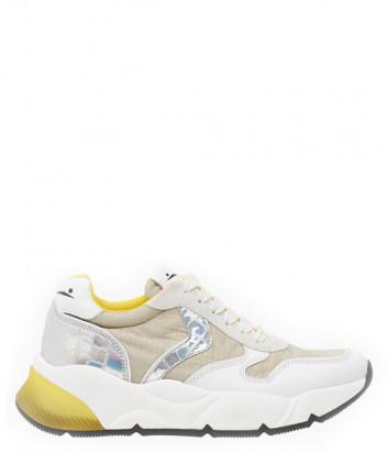 Кожаные кроссовки VOILE BLANCHE Sheel белые с желтыми вставками