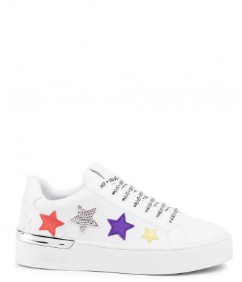 Белые кеды LIU JO BA0003 с цветными нашивками в виде звезд