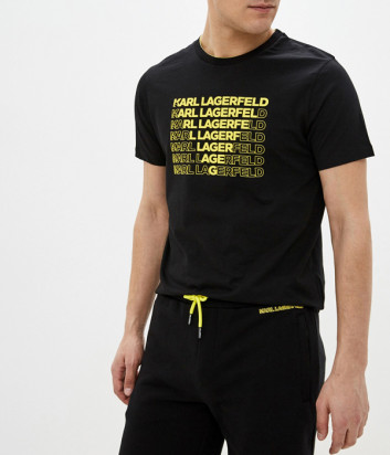 Футболка KARL LAGERFELD 755045 черная с желтыми надписями