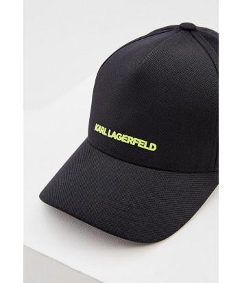 Кепка KARL LAGERFELD 805614 черная с салатовым логотипом
