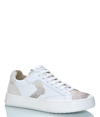 Белые кожаные кеды VOILE BLANCHE 2014622 с вышивкой