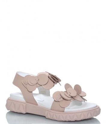 Кожаные сандалии JEANNOT 37138 бежевые с декором