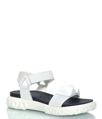 Кожаные сандалии JEANNOT 73131 белые с декором