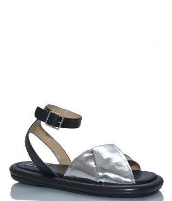 Кожаные сандалии MA&LO 9515 серебристо-черные