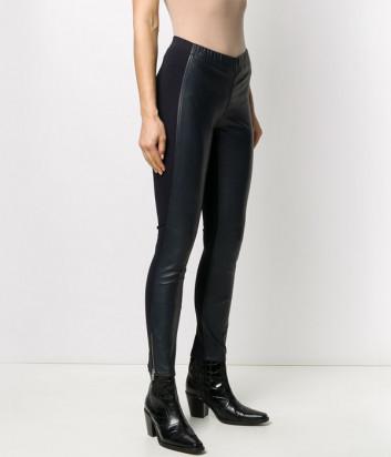 Комбинированные кожаные брюки P.A.R.O.S.H. MACIOCK D230609 темно-синие