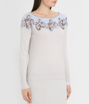 Вязаный пуловер D.EXTERIOR 47112 с декоративной вышивкой кремовый