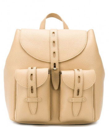 Кожаный рюкзак FURLA NET 1056801 с внешними карманами бежевый