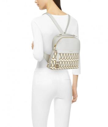 Кожаный рюкзак FURLA PIPER 1057227 белый с узором