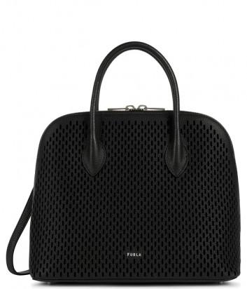 Кожаная сумка FURLA CODE M 1055721 с перфорацией черная